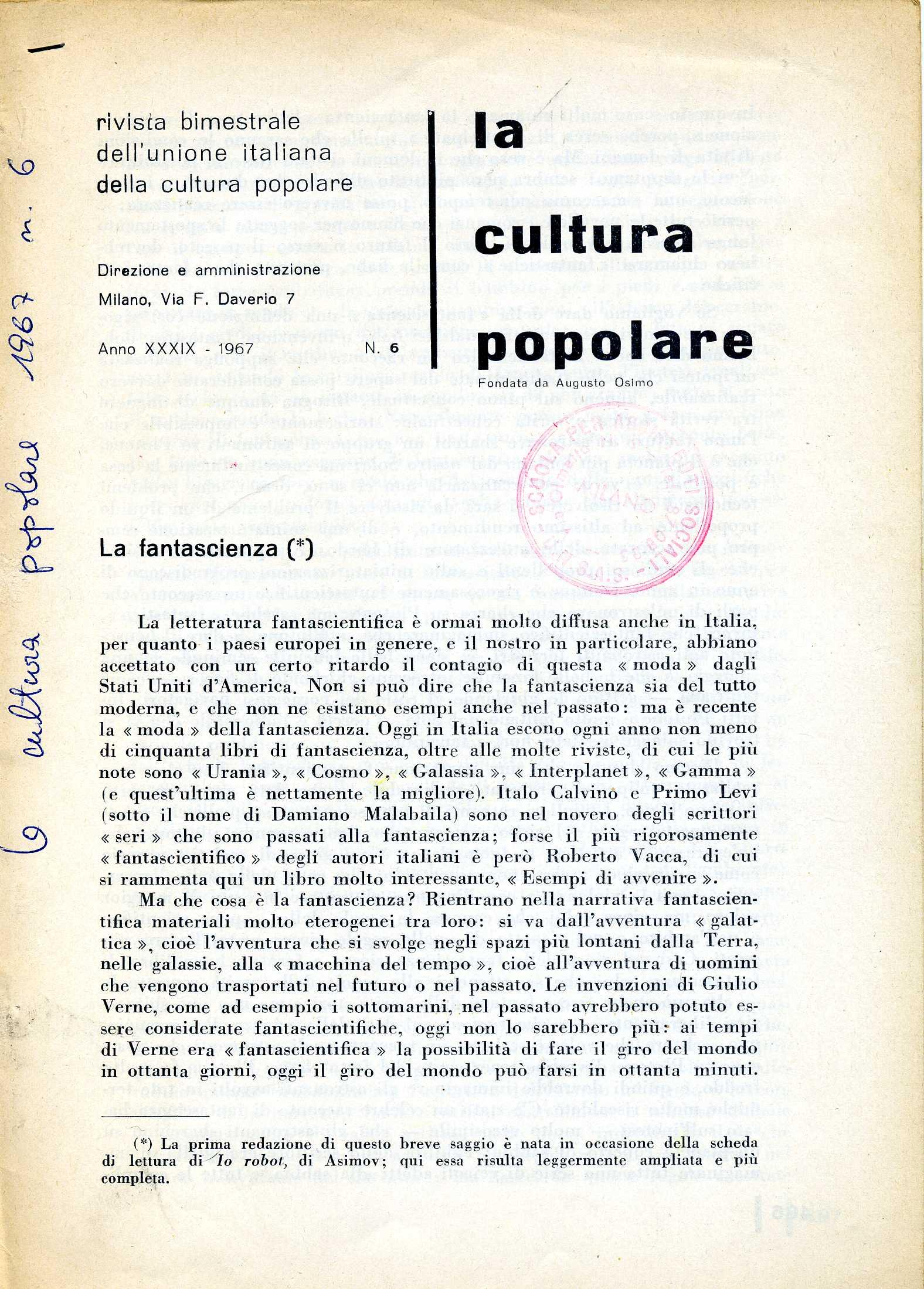 L  CONTI FANTASCIENZA1969