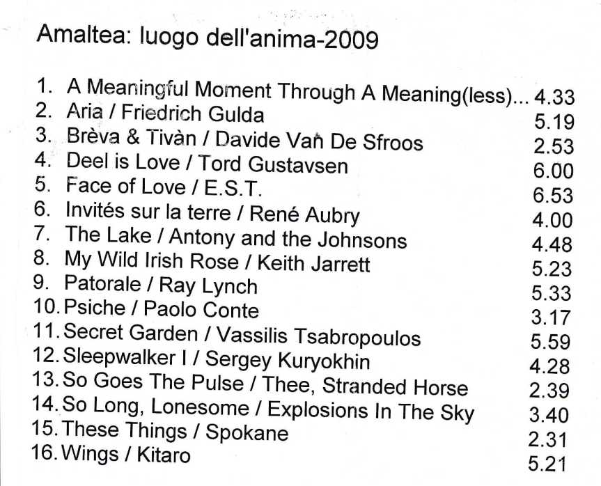 le musiche di Amaltea: AMALTEA, LUOGO DELL' ANIMA,2009