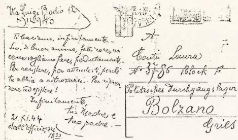 Memoria storica: lettera dalla madre e dal padre  a LAURA CONTI, quando era reclusa nel lager di Bolzano, 21 novembre1944