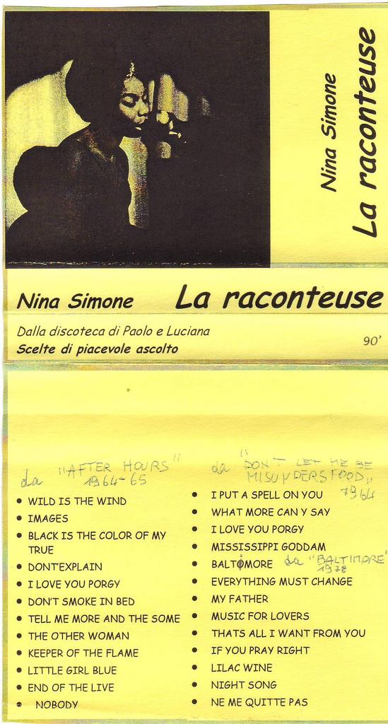 Nina Simone, LA RACONTEUSE, mia antologia musicale disempre