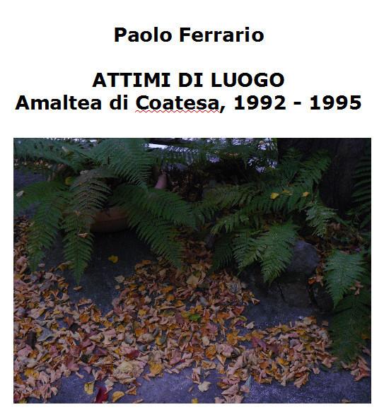 Paolo Ferrario, ATTIMI DI LUOGO, Amaltea di Coatesa,1992-1995