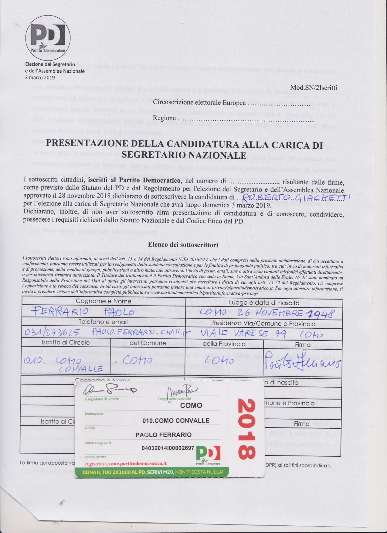 PAOLO FERRArio per romano giachetti231