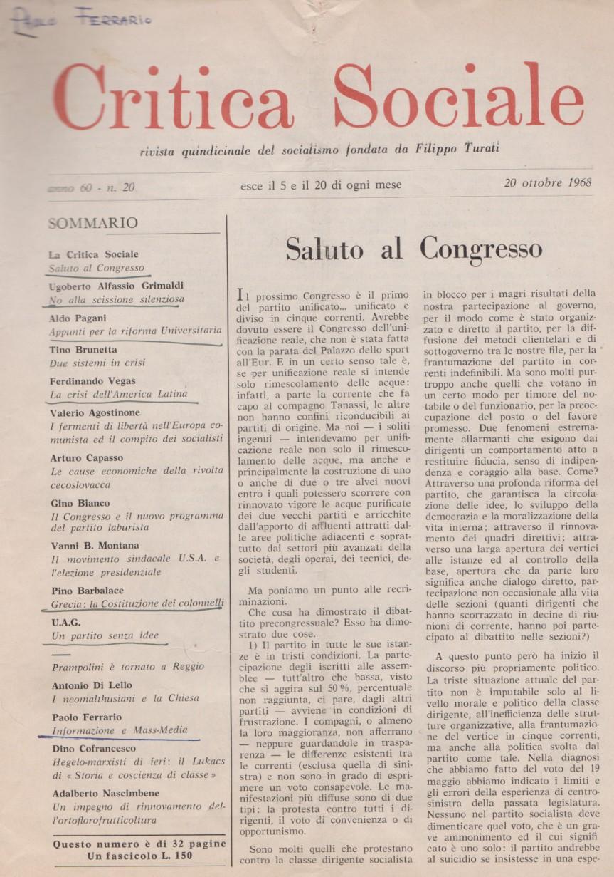 Paolo Ferrario, Informazione e Mass-Media, in Critica sociale, 20 ottobre1968