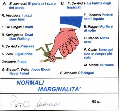 ascolta l' antologia musicale, NORMALI MARGINALITA', a cura di Paolo Ferrario e Luciana Quaia, 1995, e aggiornata al 2017 con i suggerimenti di AlessioBrunialti
