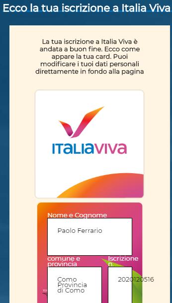 iscrizione a ITALIA VIVA, 19 ottobre 2019. www.italiaviva.it/