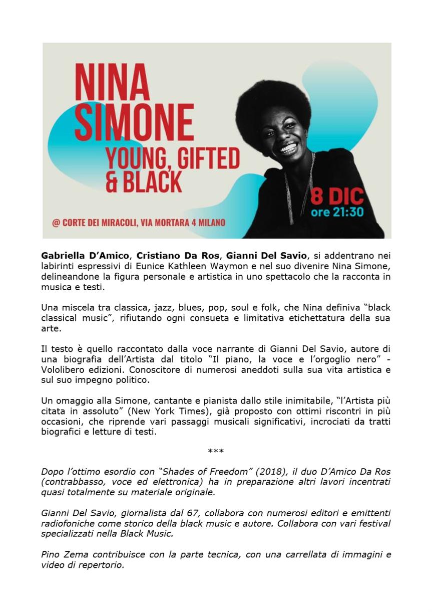 Gabriella D'Amico, Cristiano Da Ros, Gianni del Savio raccontano NINA SIMONE, alla Corte dei Miracoli, Via Mortara 4, MILANO, 8 dicembre2019